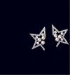 Half Star Charms Cubic Zirconia Pearl Earrings