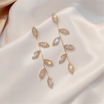 Cubic Zirconia Leaf Charms Earrings