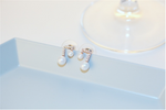 Music Note Pearl Cubic Zirconia Charms Studs Earrings