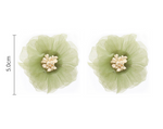 Vintage Olive Green Mesh Flower Studs Earrings