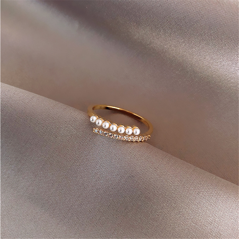 Rose Gold Cubic Zirconia Pearl Adjustment Rings