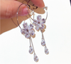 Rhinestones Crystal Flower Dangle Charm Hoops Earrings
