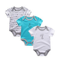 3 pcs set Baby Girl, Boy Cute 100%Cotton Short Sleeve Rompers