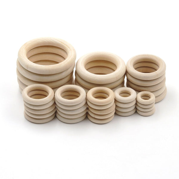 10 size Natural Wood teething Rings