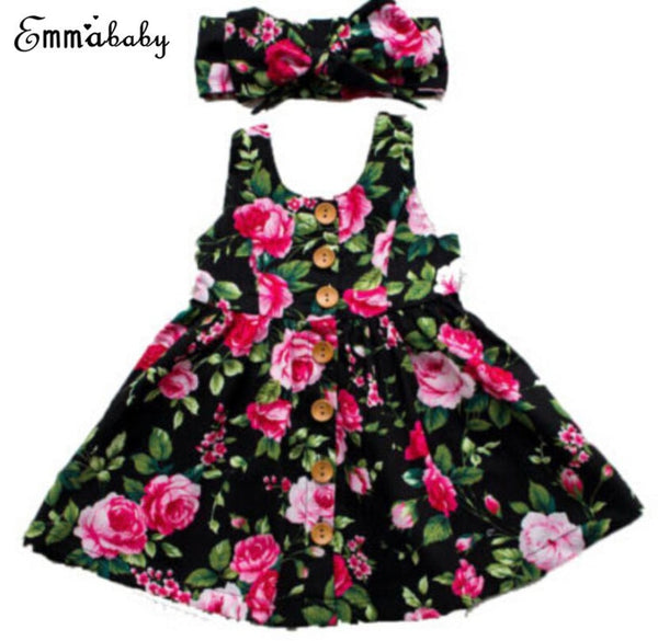 Baby Girl Floral Dress with Headband