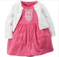 Baby Girl Bodysuit Dress with Soft Cotton Long-Sleeved Cardigan