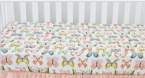 Floral Fitted Crib Sheet fits Standard Crib 28*52*9 inches