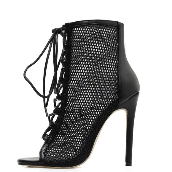 HAILEY- MESH CROSS TIED PEEP TOE HEELS