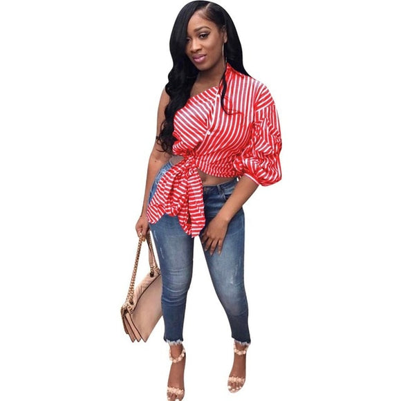 DELILAH- STRIPED ONE SLEEVE CASUAL BLOUSE