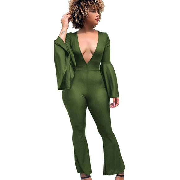 HALO- FLARE SLEEVE V-NECK JUMPSUIT