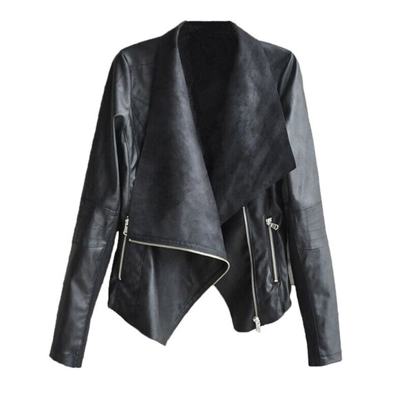 EVERLY- FAUX LEATHER TURN DOWN COLLAR JACKET