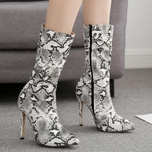 NEVAEH- SNAKE SKIN PRINT POINTED TOE MID-CALF ZIPPER STILLETO HEEL