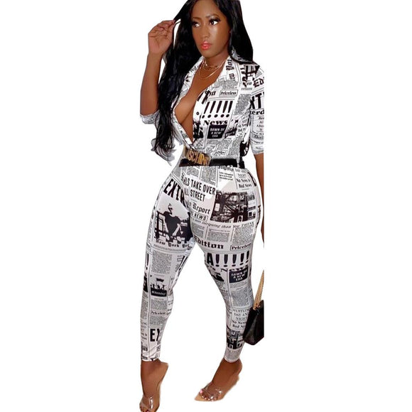 EXTRA! | NEWSPAPER PRINT TWO PIECE PANTS SET
