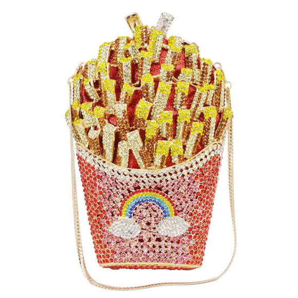 FRENCH FRIES PLEASE | SWARVOSKI FRENCH FRIES CRYSTAL CLUTCH
