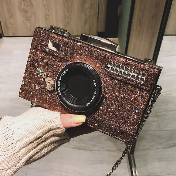 SNAP IT! | GLITZ SEQUIN CAMERA CLUTCH CHAIN CROSS-BODY SHOULDER BAG