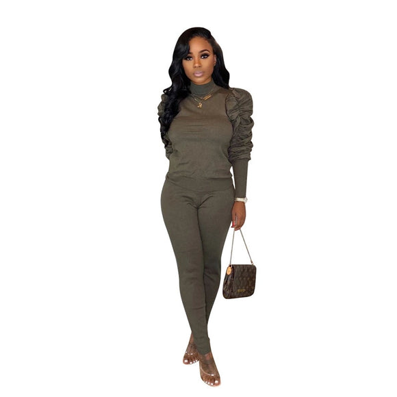 JENELLE | TWO PIECE TURTLENECK PUFF SLEEVE PANTS SET