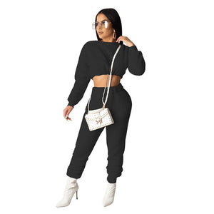 CONLEY | PLUSH TWO PIECE CROP TOP PANTS SET