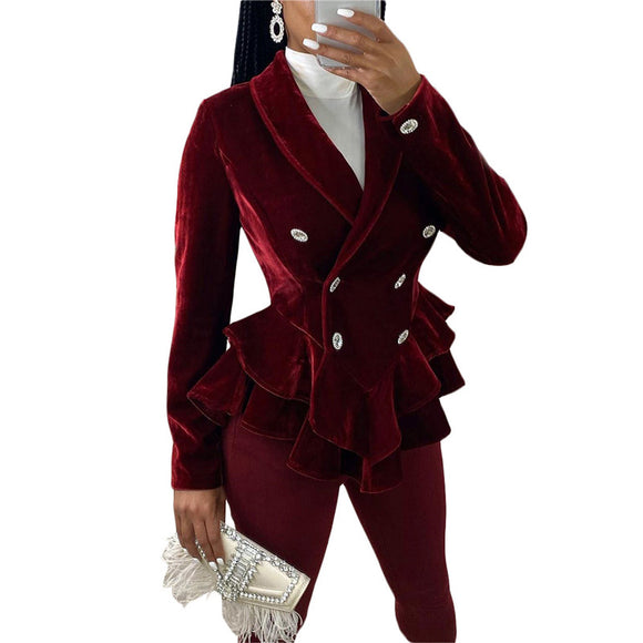 FORGIVE ME | VELVET RUFFLE WINTER TURN DOWN COLLAR BLAZER