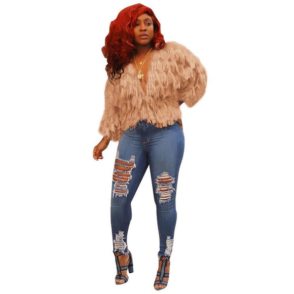 ZOEY- TASSEL V-NECK SHORT FAUX FUR JACKET