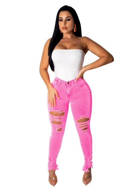 NO PRESSURE- DISTRESSED SOLID BOLD COLORS HIGH WAIST SKINNY JEANS