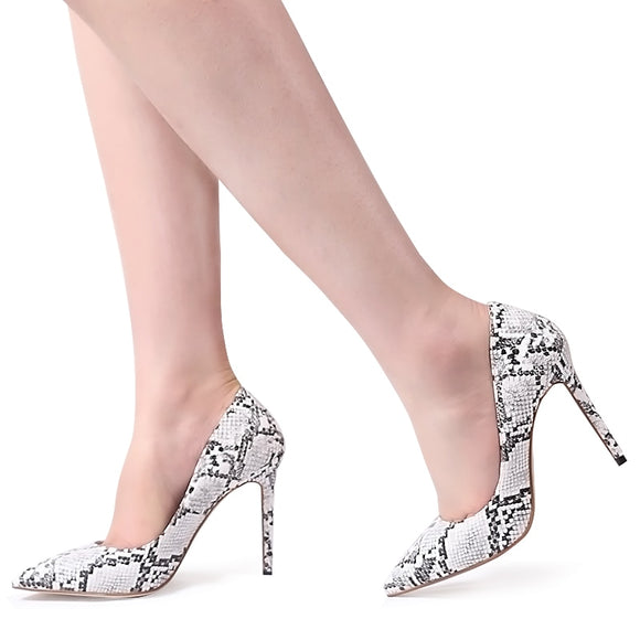 AUTUMN | SNAKE SKIN STILETTO HIGH HEEL PUMPS