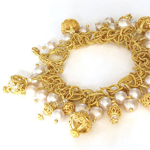 Arpaia Lagn Vermeil Classic Collection Bracelet with cultured freshwater pearls and handmade vermeil accents