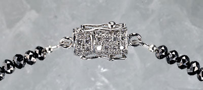 Black Ice with 18kt White Gold Clasp with White Diamonds