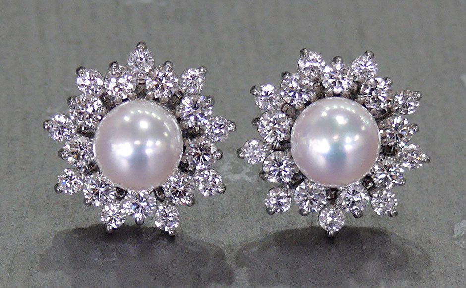 Saltwater Pearl and Diamond Platinum Earrings FINAL A