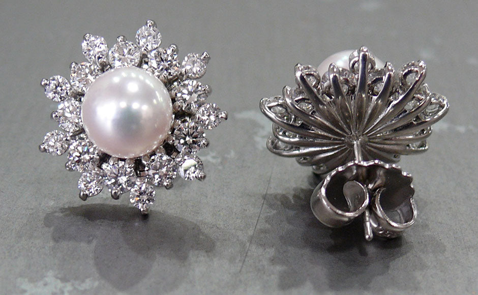 Saltwater Pearl and Diamond Platinum Earrings FINAL B