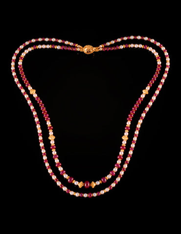"""Ruby Float"" 22KT Gold Necklace with Baby Akoya Pearls and Rubies"