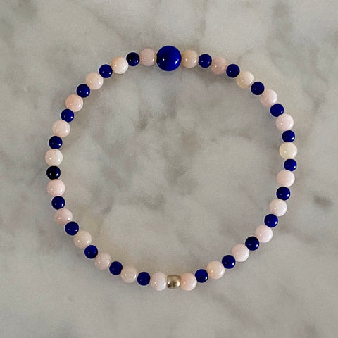 "Arpaia 7"" stretch bracelet with Pink Peruvian Opals and Lapis Lazuli"