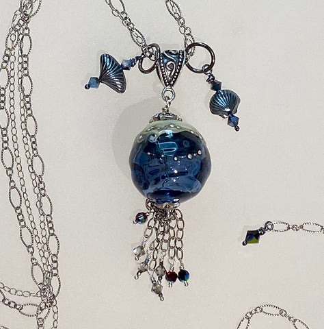 "Arpaia ""Atlantic"" Necklace with handmade blue glass bead"