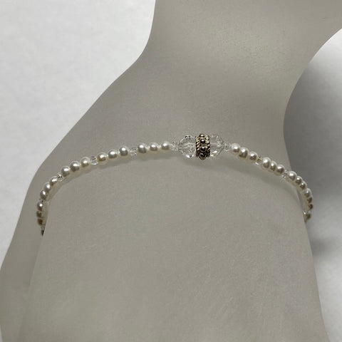 Arpaia white baby cultured freshwater pearl stretch bracelet with Swarovski crystal beads