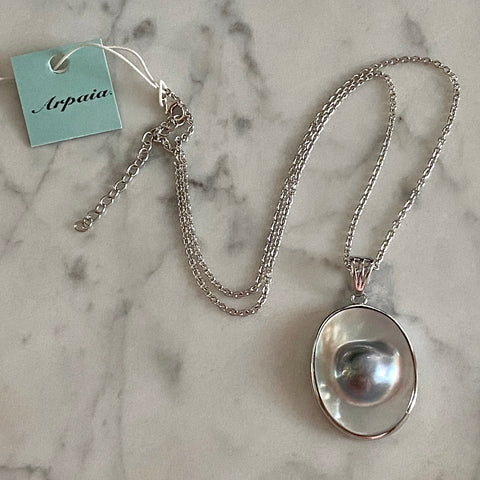 Mabe Blister Pearl Oval Pendant on Silver Adjustable Chain / Arpaia Jewelry