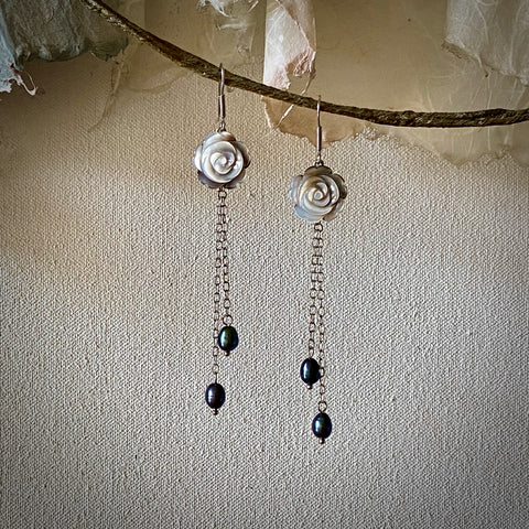 Rose Petal Carved Natural Black Mother of Pearl Long Dangle Earrings with Dyed Cultured Freshwater Pearls / Rhodium-Plated 925 Sterling Silver