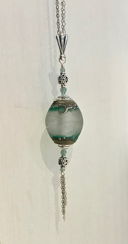 """Surf Dance"" beachlove necklace by Arpaia in antiqued sterling silver with handmade glass drop pendant."