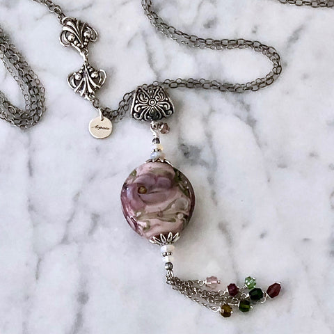 Water Lily in Mauve beachlove necklace by Arpaia