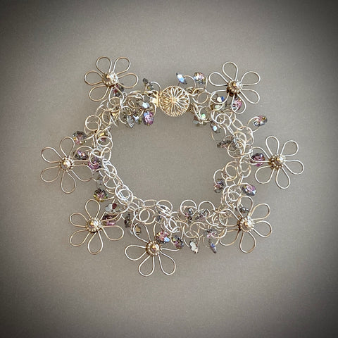 Flora Chant Collection Flower Bracelet by Arpaia Jewelry with Swarovski Crystal