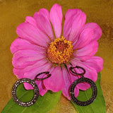 Black Diamond Hoops with Open Circle Dangles at Arpaia Jewelry