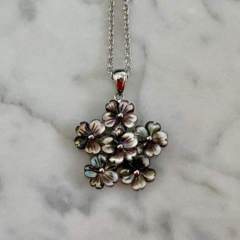 black mother of pearl flower bouquet pendant on adjustable chain / Arpaia Jewelry