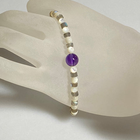 "7"" Arpaia ""Coventina"" beachlove stretch Bracelet with Amethyst, Labradorite, and Mother of Pearl Gemstone Beads"