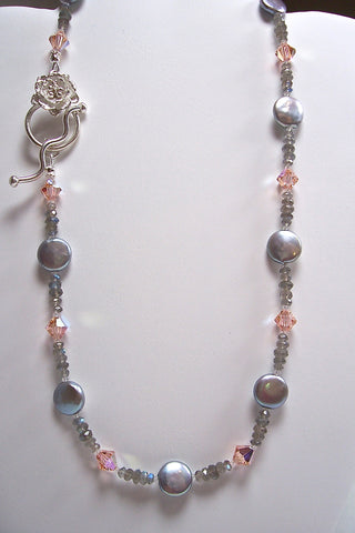 Arpaia dove grey coin pearl & peach crystal necklace
