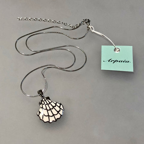 Creamy-Bisque Color Enamel & Silver Seashell Pendant on Italian Adjustable Sterling Silver Snake Chain