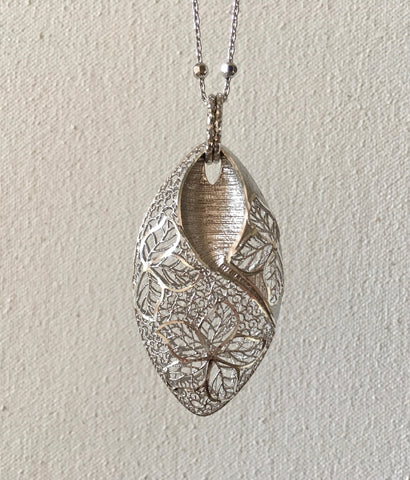 Sterling Silver Puff Filigree Flower Pendant on Adjustable Diamond-Cut Beaded Chain from Italy