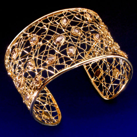 Artisan-crafted High Karat Gold Cuff Bracelet with Champagne Diamonds