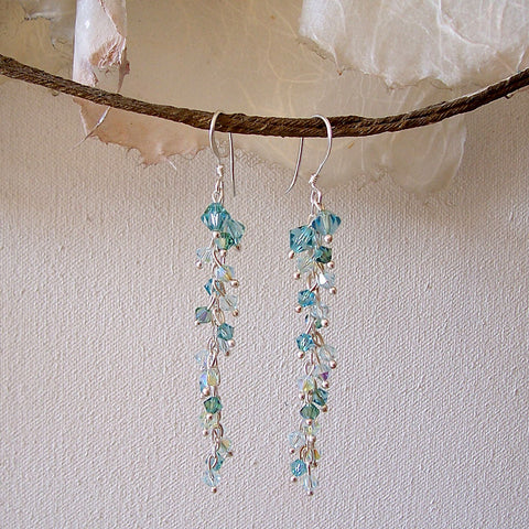 "Arpaia ""Hazy Lake"" Trickle Crystal Earrings"