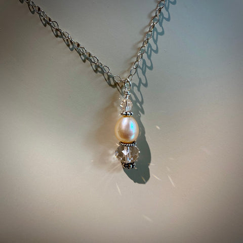 "Peach Cultured Pearl & Crystal Drop Pendant on 18"" Textured Oxidized Sterling Silver Chain"