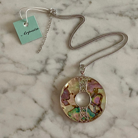 Arpaia Jewelry Abalone Pendant on Adjustable Popcorn Chain / Rhodium Plated Sterling Silver