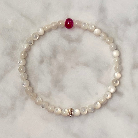 "Arpaia 6.5"" gemstone stretch bracelet with natural ruby & white mother of pearl"