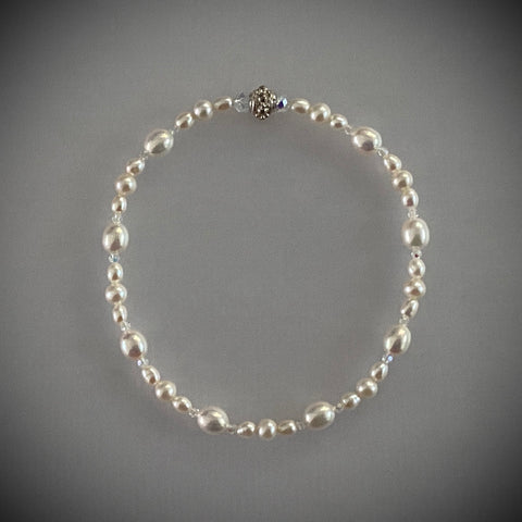 "Arpaia 7-3/4"" stretch bracelet with soft white freshwater cultured pearls and Swarovski crystal beads"